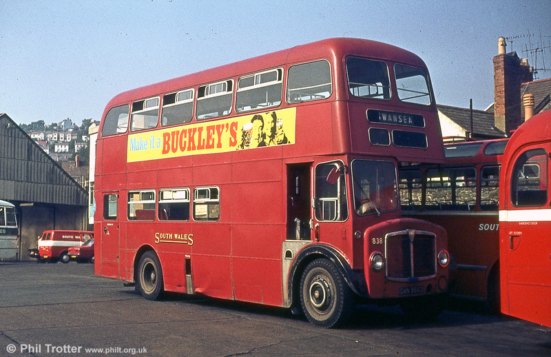 1966 AEC Regent V/Willowbrook H37/27F 838 (ex-638) (GWN 866D) had the distinction of being the last one in BET red livery, by which time NBC red was being introduced.