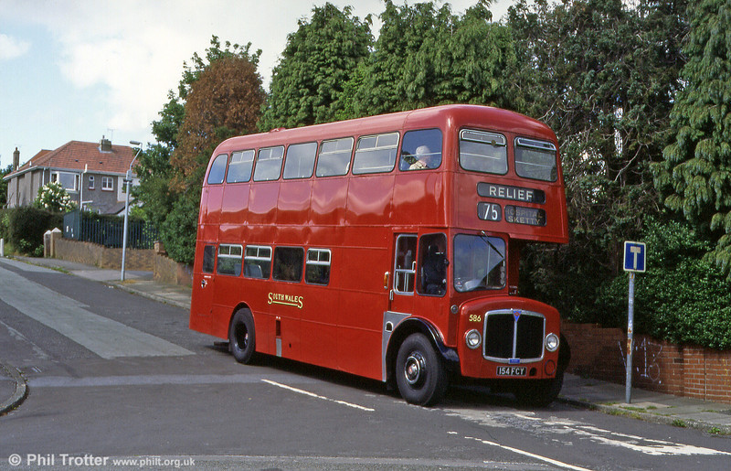 Just like it used to be! In June 1995 the now-preserved AEC Regent V 586 (154 FCY) of 1963 was posed at the old Tycoch terminus. Route 75 was normally the hunting ground of Bridgemasters, necessitated by low bridges in the St. Thomas area, but Regents sometimes appeared on short workings to the City Centre only. 'Relief' tended to be a catch-all destination display for such journeys!