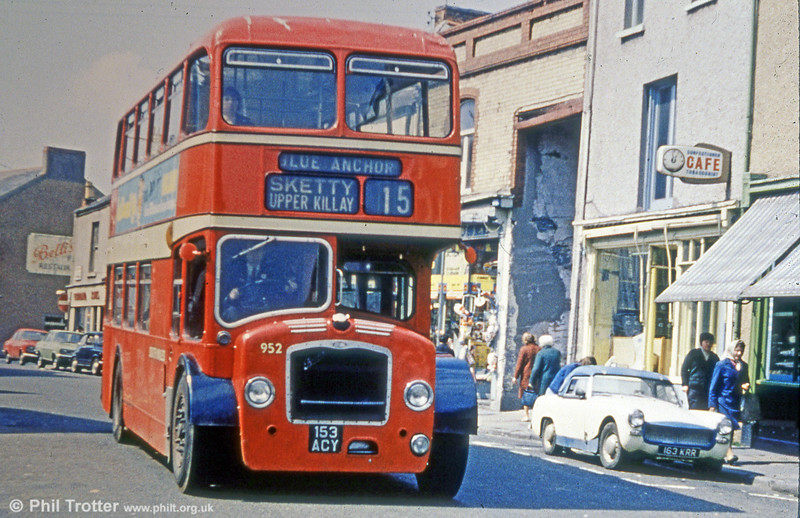 952 (153 ACY) was a former United Welsh Bristol FLF6G/ECW H34/26F, new in 1961. The large opening to the right was to allow scenery to be moved to and from the former Palace Theatre.