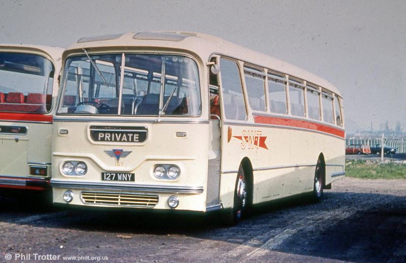 Former Thomas Bros. 127 WNY 'Afan Venturer', a 1964 AEC Reliance/Harrington C49F, SWT 157.