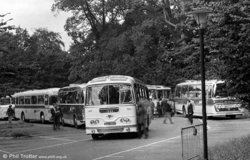 A line up of SWT coaches at Margam Park, showing the variety of chassis and body types in the fleet following the merger of the local BET/THC companies. AEC Reliance/Harrington Cavalier 118, formerly 1047 (824 BWN) is to the fore.