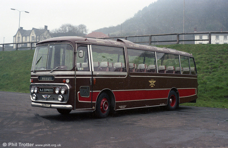 Illustrating the distinctive brown and red livery of N&C Luxury Coaches at their Briton Ferry depot is PTX 830F, a 1968 AEC Reliance/Plaxton C41F. The coach subsequently was absorbed by SWT, then passed to Western Welsh and has now been privately preserved.