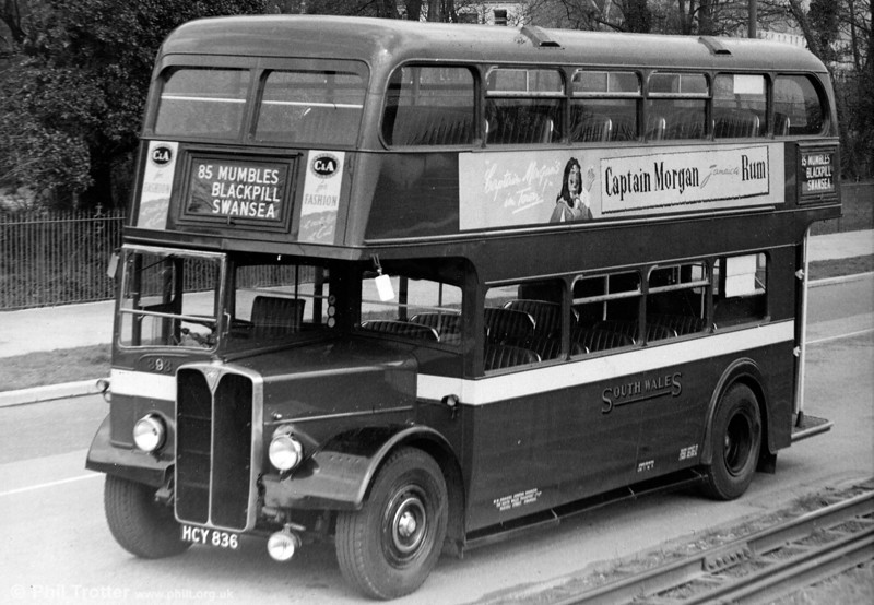 Seen on Mumbles Road is 393 (HCY 836) a 1952 AEC Regent III/Weymann L27/26R....but where's the driver?!