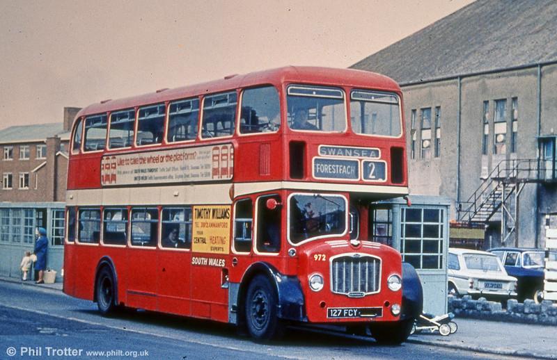 972 (127 FCY) was a former United Welsh Bristol FLF6G/ECW H38/32F, seen here at Llanelli.
