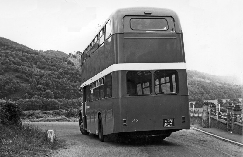 A rear view of 1964 AEC Regent V/Weymann H39/32F 595 (428 HCY).