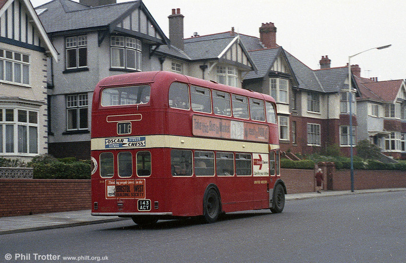 A rear view of United Welsh 349 (143 ACY), a 1961 Bristol FSF6G/ECW H34/26F seen on Sketty Road.