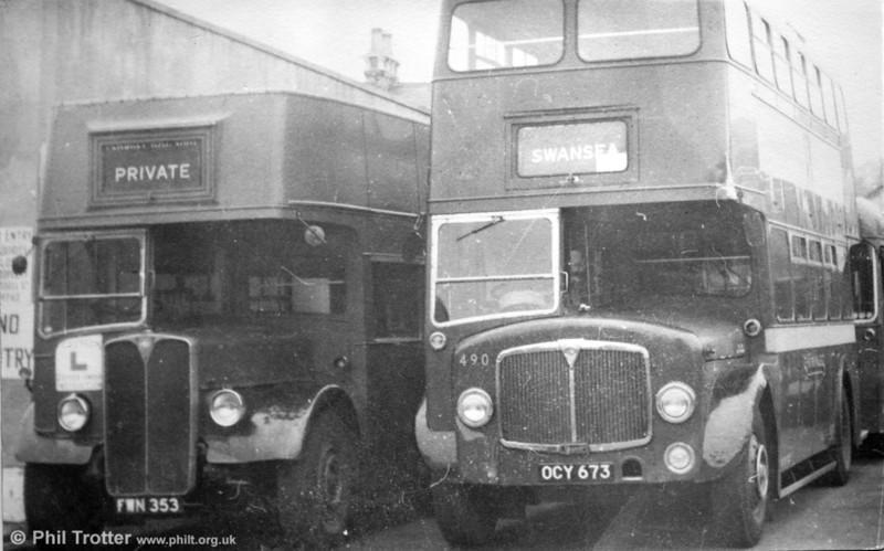 AEC Regent III training bus FWN 353, formerly Weymann H30/26R no 315 and AEC Regent V/Weymann H32/28R 490 (OCY 673) at Brunswick Street.