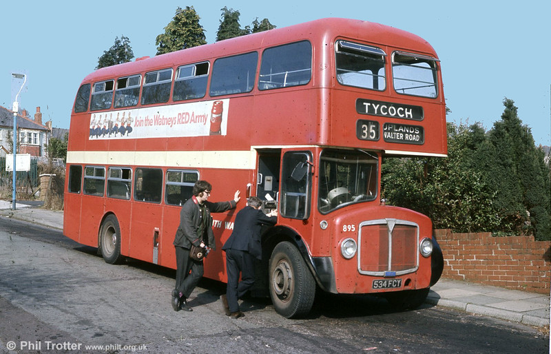 AEC Renown/Willowbrook H39/32F 895 (1254) (534 FCY) seen at the old Tycoch terminus.