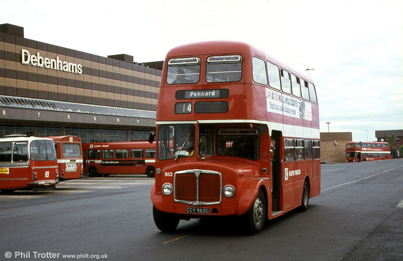 AEC Regent V/Willowbrook H37/27F 863 (CCY 983C) at Swansea.