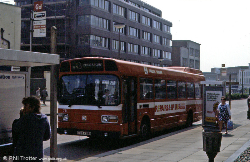 Leyland National B52F 731 (TCY 731M) at Orchard Street, Swansea.