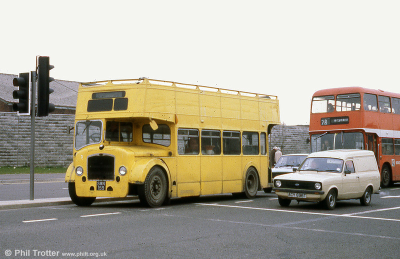 Bristol LD6G/ECW 916 (SWN 159) after conversion to a tree lopper and numbered 3. The vehicle has since been preserved.