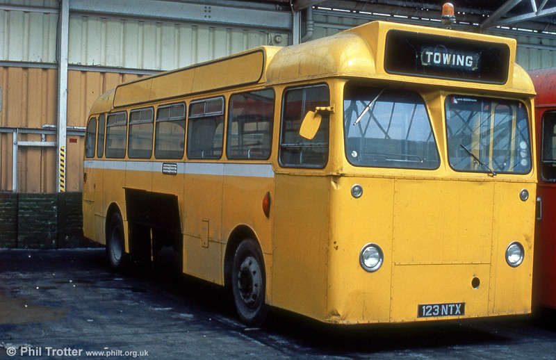 Former Thomas Bros. 123 NTX, a 1962 Leyland Tiger Cub/Alexander B45F seen at Port Talbot after conversion to an engineering vehicle.