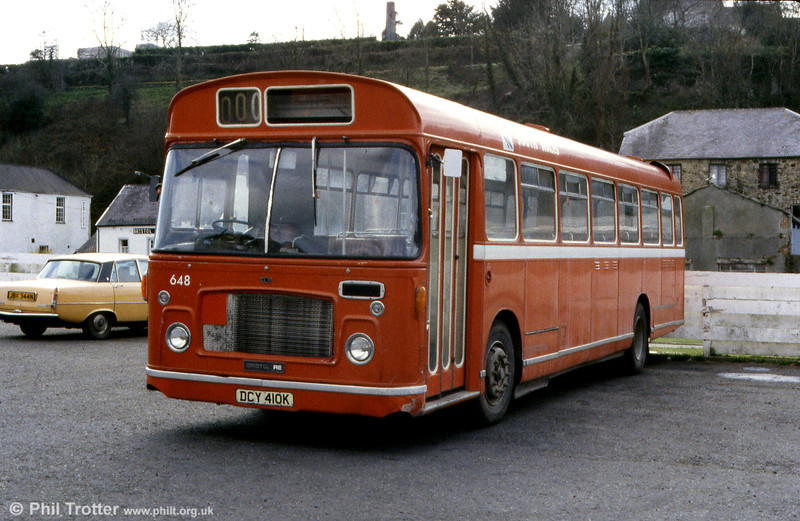 Unusually at Haverfordwest is SWT 648 (DCY 410K), a Bristol RELL6G/ECW B53F.