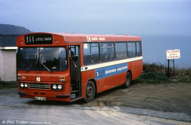 Ford R1014/Duple B43F 274 (NCY 274R) photographed at the clifftop terminus at Little Haven.