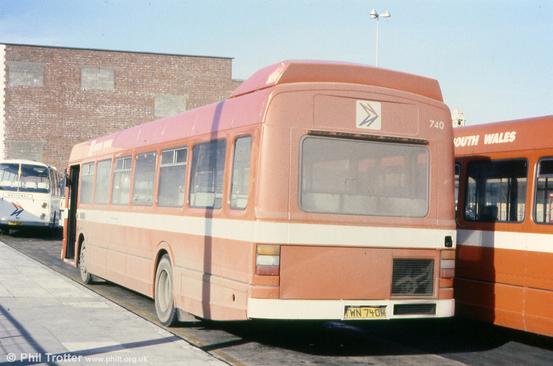 A rear view of Leyland National B52F 740 (TWN 740N) at Swansea. Note the incorrect rear registration plate!
