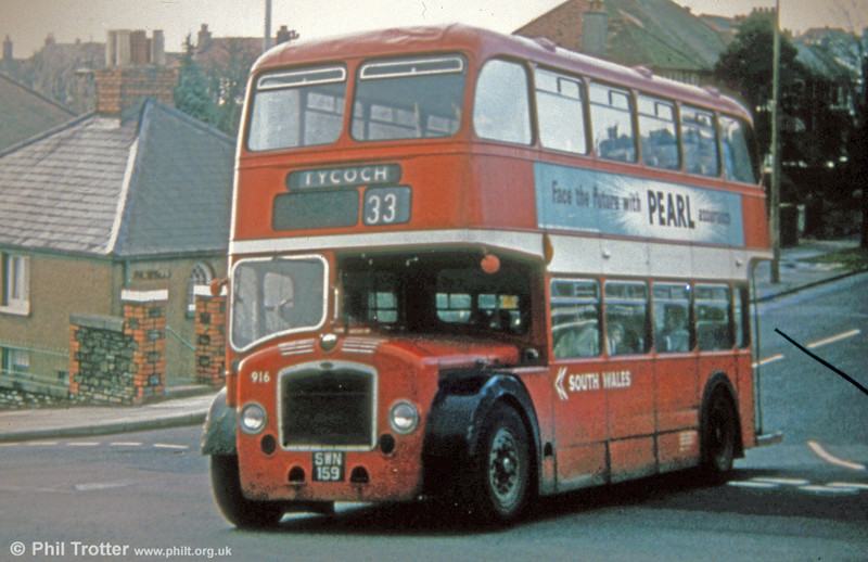 In early National Bus days, 916 (SWN 159) was a Bristol LD6G/ECW H33/27R new in 1959. In its retirement, 916 went on to become a tree lopper and is now preserved as an open topper.  Route 33 was once strictly Bridgemaster territory, but the destination is set for the wrong direction; it should read Port Tennant.