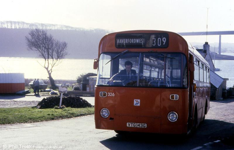 Former Thomas Bros. Leyland Tiger Cub/Marshall B45F 326 (VTG 143G) at Burton, Pembrokeshire waiting to return to Haverfordwest.