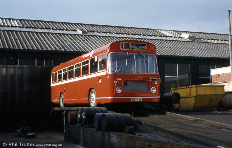 Spotless after a repaint is Bristol RELL6G/ECW B53F 649 (DCY 411K) at the rear of Ravenhill depot.