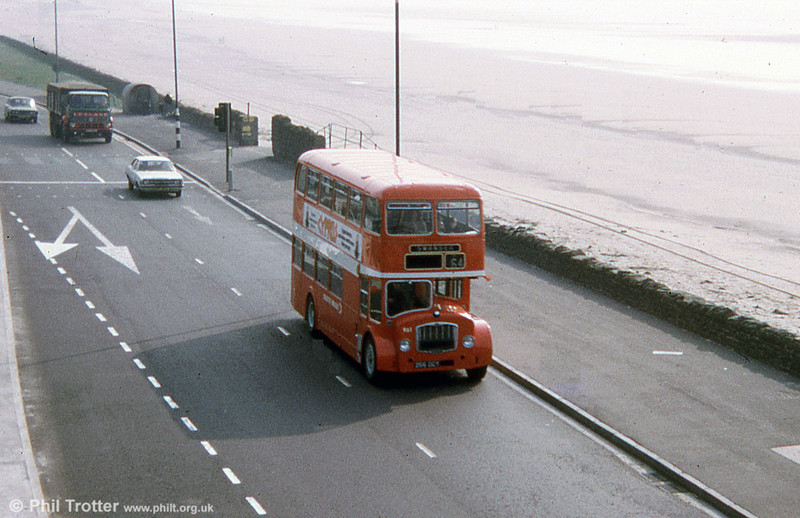 Bristol FSF6G/ECW H34/26F 961 (266 DCY) heads along Swansea seafront in 1974. 961 was previously United Welsh 368.