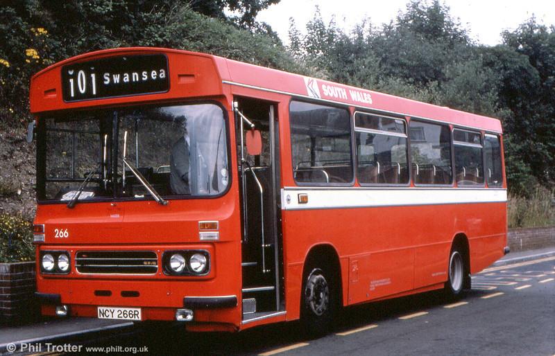 Ford R1014/Duple B43F 266 (NCY 266R) at Carmarthen.