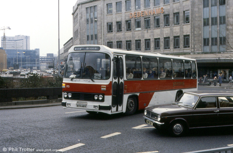 Seen in Bristol in unfinished local coach livery is 173 (BTH 481V) a Leyland Leopard/Willowbrook C51F.