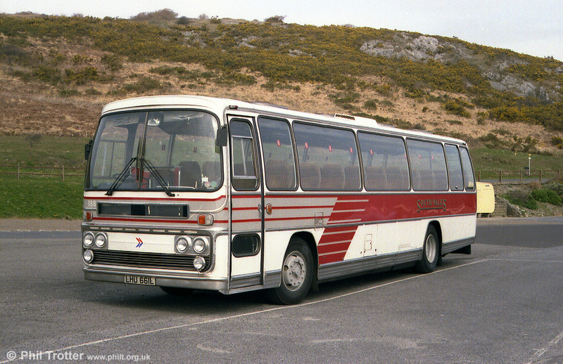 Seen displaying the later local coach livery is Leyland Leopard/Plaxton C44F 188 (LHU661L) which had been acquired from National Travel South West (330) in 1981.