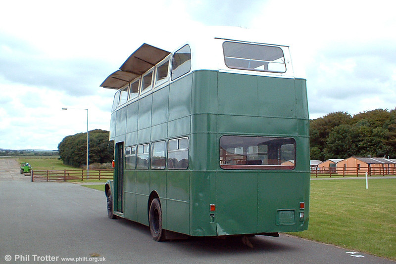 A rear view of AEC Regent V/Willowbrook H37/27F 889 (GWN 867E), showing the long lower deck rear window which was a distinctive feature of these buses. 6th August 2005.