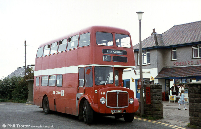 Pennard terminus, with AEC Regent V/Willowbrook H37/27F 881 (GWN 859D) awaiting the next departure. The route to Pennard has an interesting history, having previously been a United Welsh route (64) who in turn absorbed it with the Swan Motor Services operation in 1952.