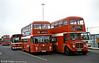 Bristol VRT/ECW H43/31F 987 (ECY 987V) and AEC Regent V/Willowbrook H37/27F 881 (GWN 859D).