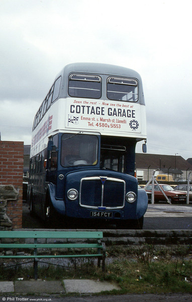 A second view of AEC Regent V/Willowbrook H39/32F 586 (154 FCY) with Cottage Garage, Llanelli. The vehicle has since been preserved.