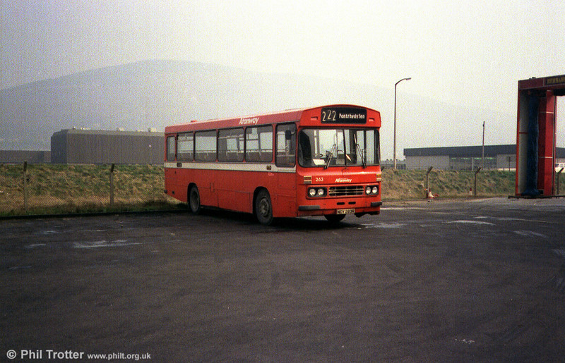 Ford R1014/Duple B43F 263 (NCY 263R) at Port Talbot.