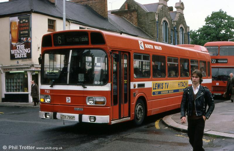 Leyland National B52F 780 (JTH 780P) in High Street, Swansea.