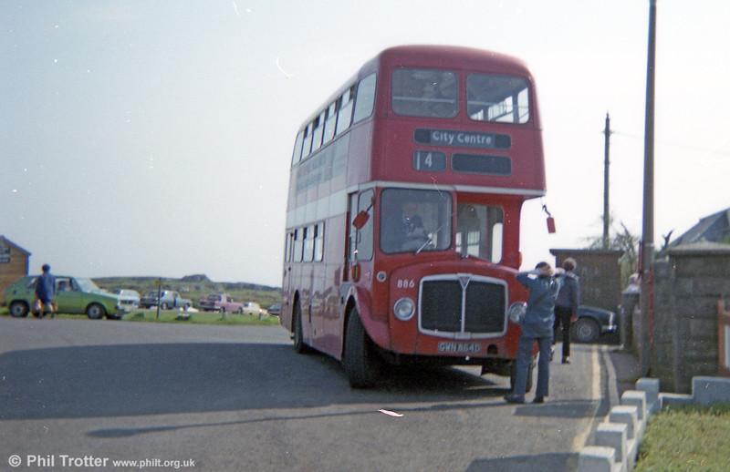 AEC Regent Vs/Willowbrook H37/27F 886 (GWN 864D) at Pennard terminus.