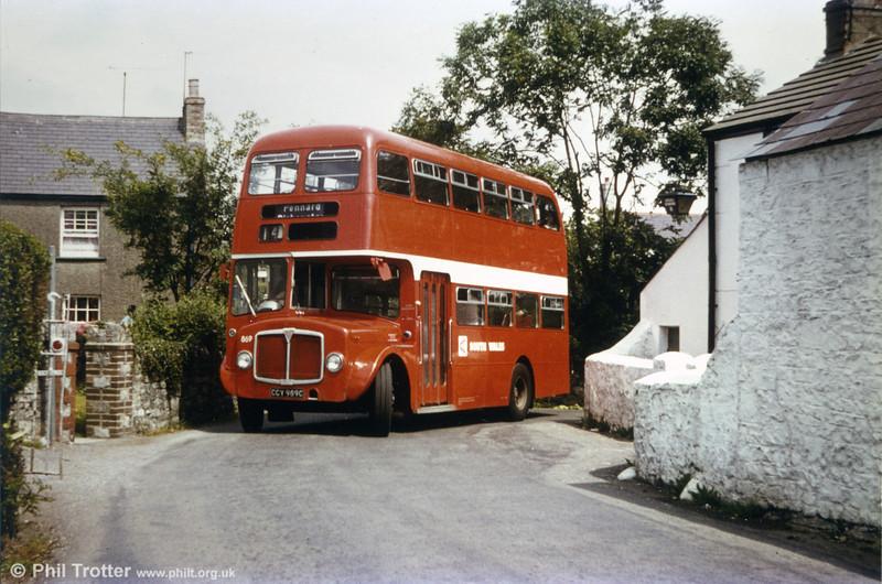 AEC Regent V/Willowbrook H37/27F 869 (CCY 989C) at Plough Corner, Murton.