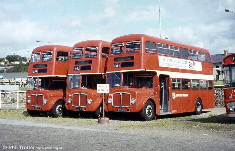 Following withdrawal from service in July 1980, AEC Regent Vs/Willowbrook H39/32F 851/2/5 (434/5/8 HCY) were sent the 70 or so miles to the outpost at Haverfordwest for storage where they remained for some months, pending disposal. The trio are seen here in the autumn sunshine of 1980, awaiting their fate.
