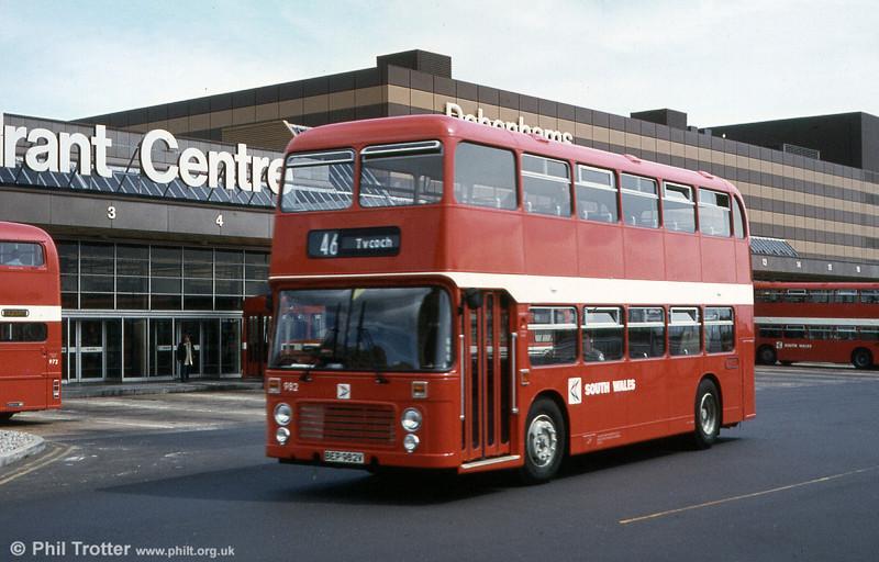 Bristol VRT SL3/ECW H43/31F 982 (BEP 982V) seen when new.