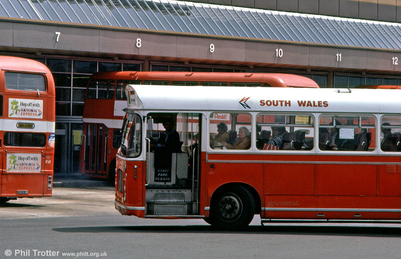 One of a pair of dual purpose RELL6Gs/ECW DP49F operated by SWT, 623 (XWN 623J) arrives at Swansea Bus Station.