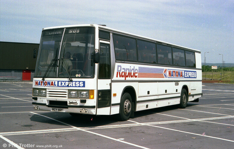 South Wales 119 (RCY 119Y), a 1983 Leyland Tiger/Duple Caribbean C46FT seen in 'Rapide' livery when new.