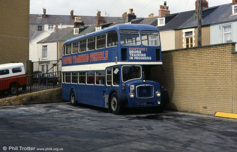 OPU 823D was a former Eastern National (2858) 1966 Bristol FLF6B/ECW H38/32F which was acquired by SWT as a driver training vehicle, carrying fleet number 57.