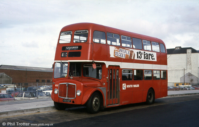 855 (438 HCY), a 1964 Regent V 2D3RA with Willowbrook H39/32F, posed at the Quadrant Bus Station, Swansea.