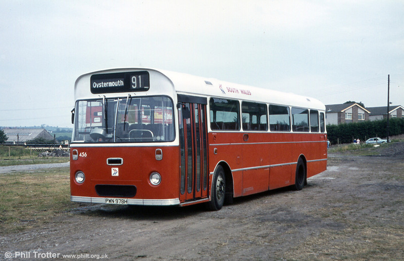 456 (PWN 978H), a 1969 AEC Reliance 6MU2R with Marshall DP49F body, new as fleet number 978.