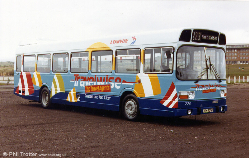Leyland National B52F 775 (JTH 775P) newly outshopped in Travelwise advertising livery, March 1983.