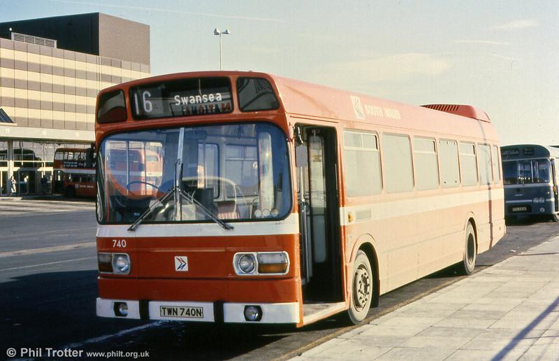 Leyland National B52F 740 (TWN 740N) at Swansea.