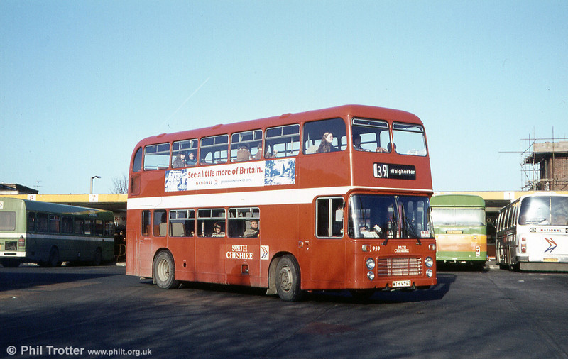 Bristol VRT SL3/ECW H43/31F 959 (WTH 959T) is seen at Crewe Bus Station. This vehicle (after return to SWT) subsequently burned out and was rebodied in 1981.