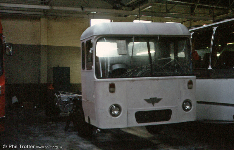 A bizarre experiment in 1980 was the attempt to rebuild withdrawn AEC Reliance 441 (NCY 293G) - formerly 1962 - as a non-psv. The project was eventually abandoned, but the incomplete rebuild is seen here.