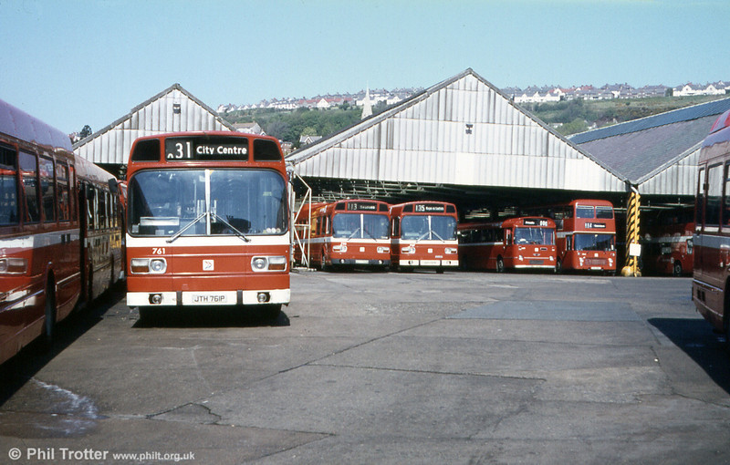 A classic view of Brunswick Street depot. Included is Leyland National B52F 761 (JTH 761P).