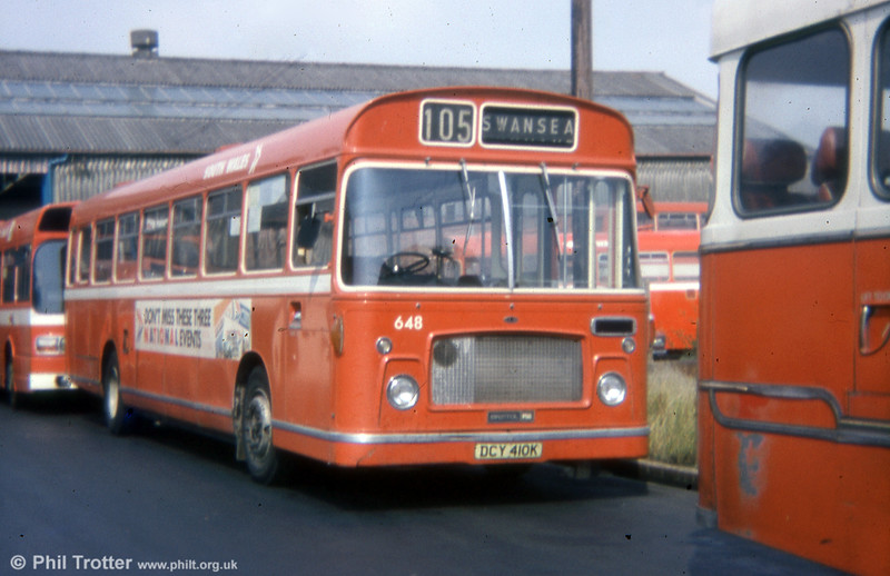 648 (DCY 410K), a Bristol RELL6G/ECW B53F at Gorseinon.