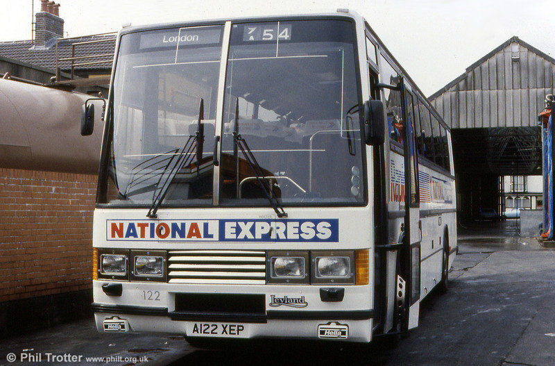 SWT 122 (A122 XEP), a 1984 Leyland Tiger/Duple Caribbean C46FT photographed when still quite new.