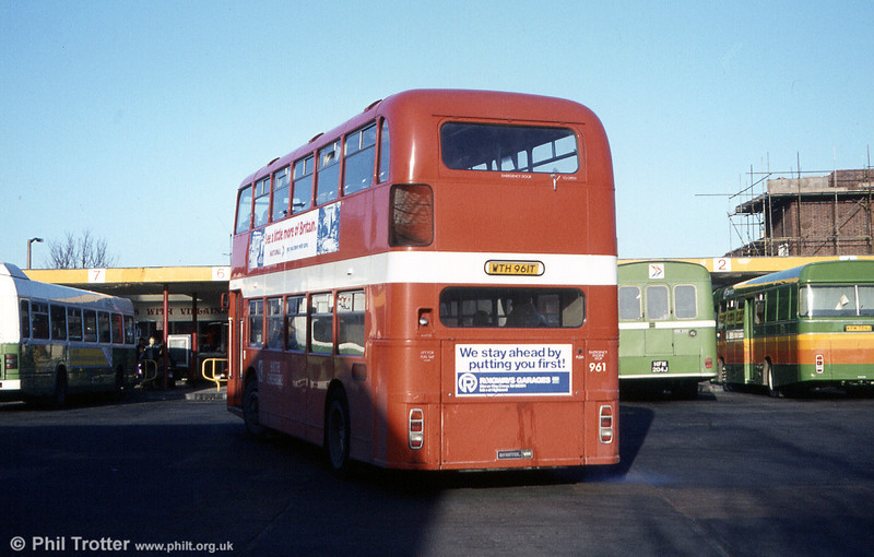 Bristol VRT SL3/ECW H43/31F 961 (WTH 961T) at Crewe Bus Station while on hire to Crosville.