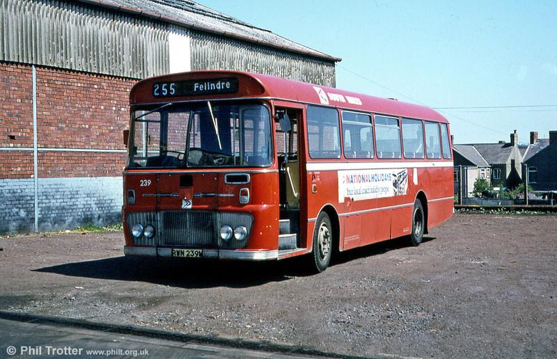 Ford R1014/Willowbrook B45F 239 (RWN 239M) at Gorseinon depot.